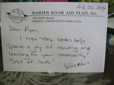 Nice card from Darien Book Aid.
